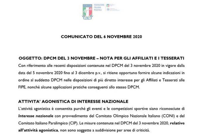 Comunicato della FIPE sul nuovo DPCM del 3 novembre 2020